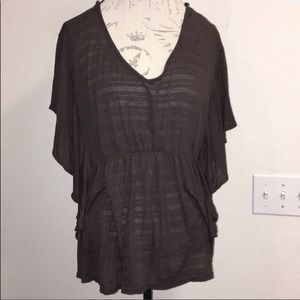 Ambiance Brown Butterfly Shirt Size 1XL